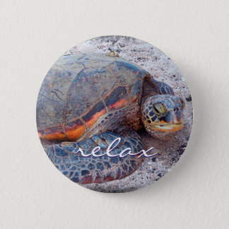 """Relax"" quote Hawaiian sea turtle close-up photo 2 Inch Round Button"