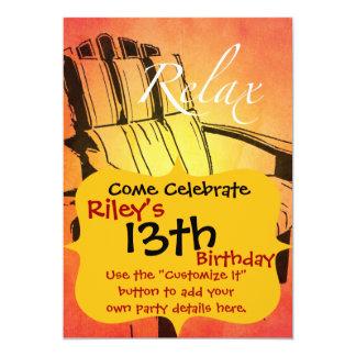 "Relax Red Orange Adirondack Chair Summer Beach The 5"" X 7"" Invitation Card"