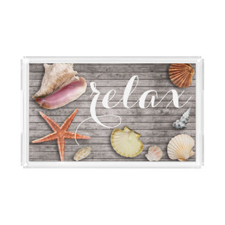 Relax Sea Shell Rustic Beach Wood Panel Print Tray