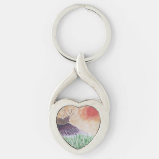 RELAX Silver-Colored TWISTED HEART KEYCHAIN