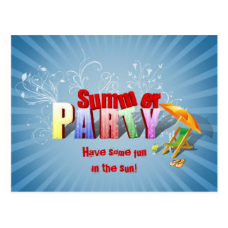 Relax Summer Fun Party Invitation - Postcard