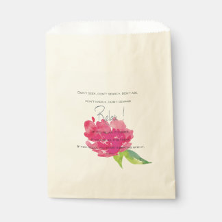 RELAX TO RECEIVE, TO VIBRATE BRIGHT PINK FLORAL FAVOUR BAG