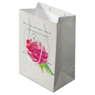 RELAX TO RECEIVE, TO VIBRATE BRIGHT PINK FLORAL MEDIUM GIFT BAG