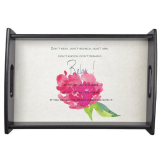 RELAX TO RECEIVE, TO VIBRATE BRIGHT PINK FLORAL SERVING TRAY