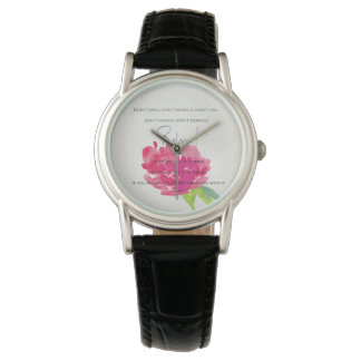 RELAX TO RECEIVE, TO VIBRATE BRIGHT PINK FLORAL WATCH