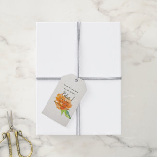 RELAX TO RECEIVE, TO VIBRATE ORANGE FLORAL GIFT TAGS