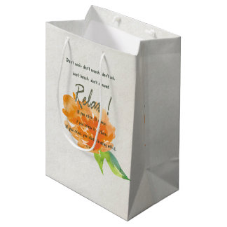 RELAX TO RECEIVE, TO VIBRATE ORANGE FLORAL MEDIUM GIFT BAG