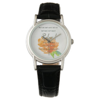 RELAX TO RECEIVE, TO VIBRATE ORANGE FLORAL WATCH