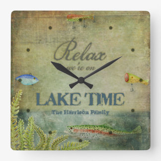 Relax we are on Lake Time, Mountain Cabin Decor Wall Clocks