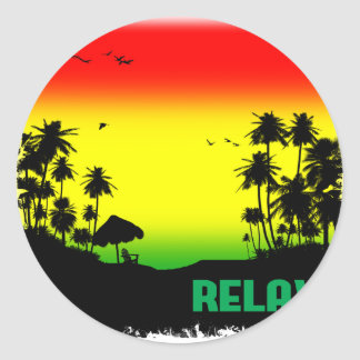 relaxation rasta round sticker