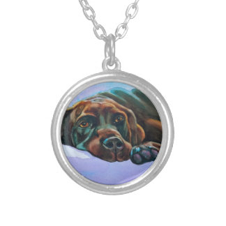 Relaxed Chocolate Lab Dog Silver Plated Necklace