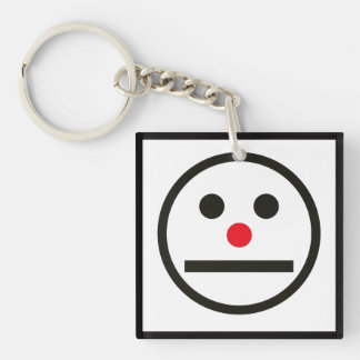 Relaxed Face Expression with Red Nose Double-Sided Square Acrylic Keychain