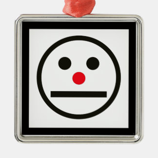 Relaxed Face Expression with Red Nose Metal Ornament
