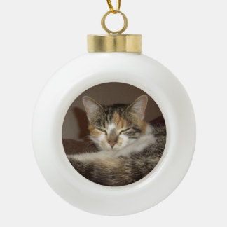 Relaxed Kitty Ceramic Ball Christmas Ornament