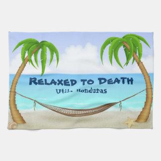 Relaxed to Death Utila Honduras Beach Kitchen Towel