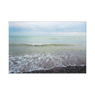 Relaxing Beach Landscape Waves and Blue Sky Canvas Print