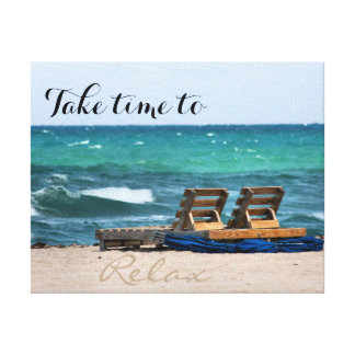 Relaxing Beach Photograph with Custom Text Canvas Print