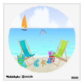 Relaxing Beach Round Wall Decal