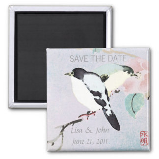 Relaxing Birds ~ Asian WEDDING SAVE THE DATE Square Magnet
