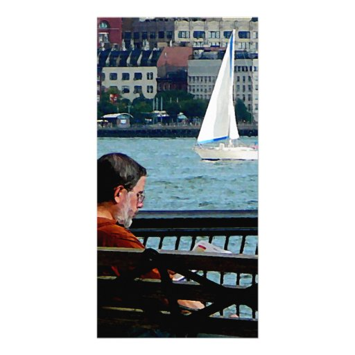 Relaxing by the Manhattan Skyline Photo Cards