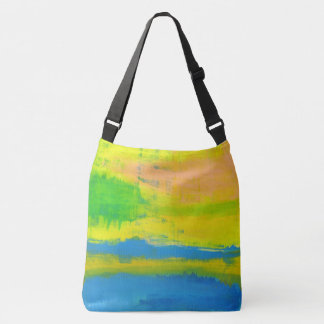 Relaxing Cool Sunny Yellow Coral Abstract Art Crossbody Bag