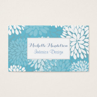 Relaxing cute teal flowers business card
