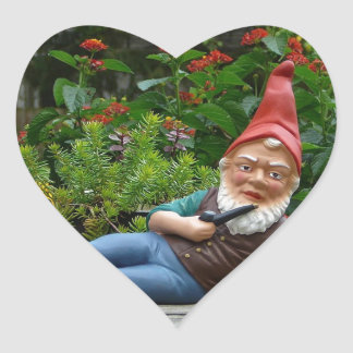 Relaxing Gnome with Santa Cap Heart Sticker