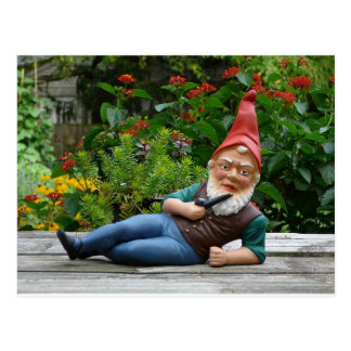 Relaxing Gnome with Santa Cap Postcard