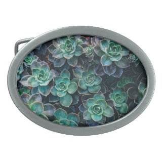 Relaxing Green Blue Succulent Cactus Plants Belt Buckle