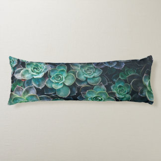 Relaxing Green Blue Succulent Cactus Plants Body Pillow