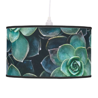 Relaxing Green Blue Succulent Cactus Plants Ceiling Lamp