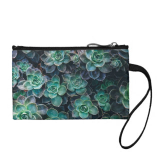 Relaxing Green Blue Succulent Cactus Plants Coin Purse