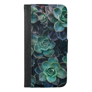 Relaxing Green Blue Succulent Cactus Plants iPhone 6/6s Plus Wallet Case
