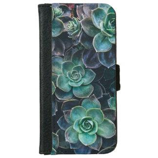 Relaxing Green Blue Succulent Cactus Plants iPhone 6 Wallet Case