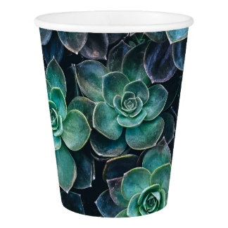 Relaxing Green Blue Succulent Cactus Plants Paper Cup
