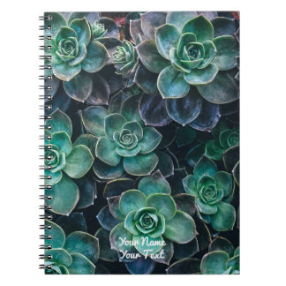 Relaxing Green Blue Succulent Cactus Plants Spiral Notebook