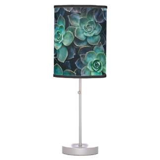 Relaxing Green Blue Succulent Cactus Plants Table Lamp