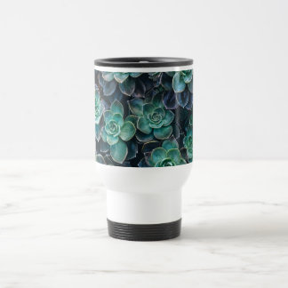 Relaxing Green Blue Succulent Cactus Plants Travel Mug