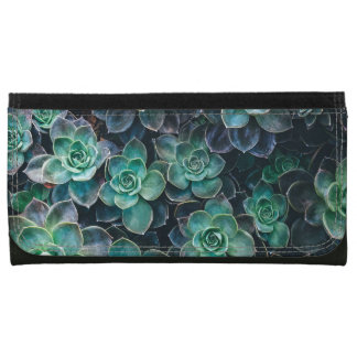 Relaxing Green Blue Succulent Cactus Plants Wallets For Women