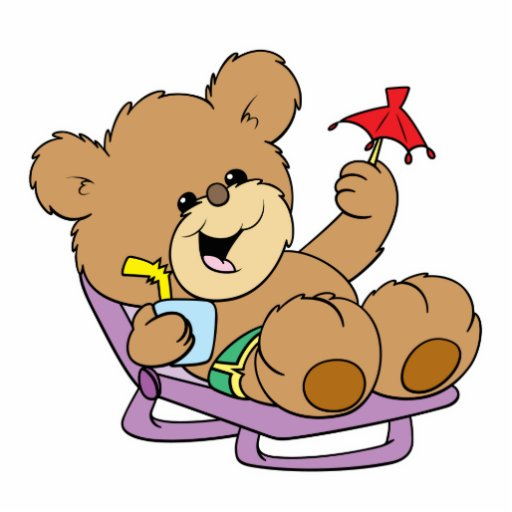 relaxing on vacation teddy bear design photo cutouts