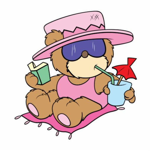 relaxing on vacation teddy bear girl design photo cut out