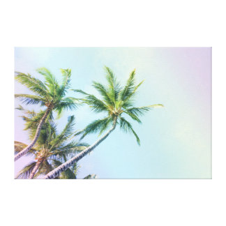 Relaxing Rainbow Color Palm Trees Canvas Print