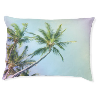 Relaxing Rainbow Color Palms Large Dog Bed