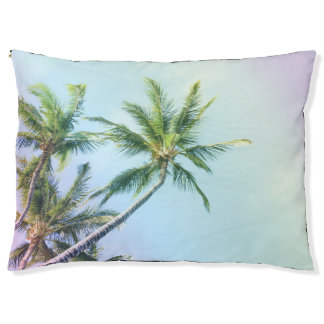 Relaxing Rainbow Color Palms Pet Bed