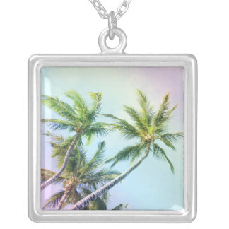 Relaxing Rainbow Color Palms Silver Plated Necklace