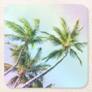 Relaxing Rainbow Color Palms Square Paper Coaster