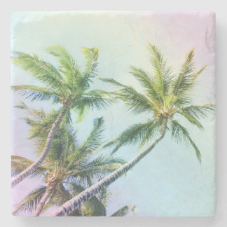 Relaxing Rainbow Color Palms Stone Coaster