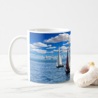 Relaxing Sailboats on the Ocean Photo coffee mug