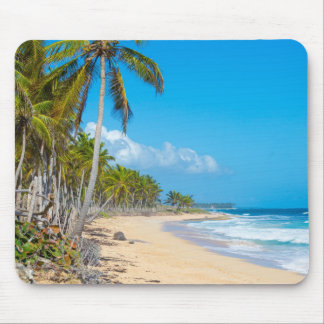 Relaxing sandy beach, gentle waves, palm trees mouse pad