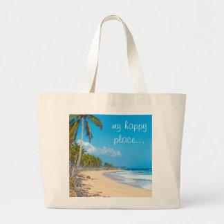 Relaxing sandy beach, palm trees, ocean waves large tote bag